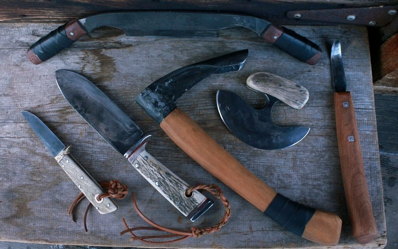 Bushcraft set of tools and knives